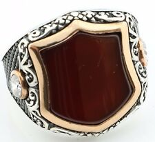Unique 18gr Solid Sterling Silver Agate Men's Ring -US Seller-All Sizes 8-12 K6U
