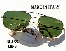 OCCHIALI DA SOLE SUNGLASSES PILOT AVIATOR VINTAGE ORO VETRO VERDE MADE IN ITALY