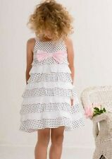 Biscotti Little Darling Girl's Black and White Polka Dot and Eyelet Dress Y6 $96