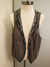 MNG Grey Vest with Sequin/Beading Trim Waistcoat Chaleco Size XL NWT