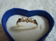 "Authentic   ""MIKIMOTO"" 18k yellow gold Akoya Pearl &  Diamond & Ruby Ring"