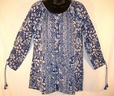 $59 LUCKY BRAND Blue Floral SHIRT TOP 3/4 Sleeve SMALL Loose Fit