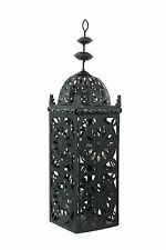"21"" Large Black Metal European-style Hanging Candle Lantern with 2 Votive Glass"