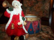 Santa with horn and drum planter hard resin/ceramic apx. 7x8