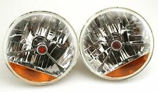 "7"" Tri Bar Headlight Red Dot With Turn H4 Halogen Hot Rod Street Rod CHEVY FORD"