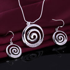 925 Sterling Silver Plated Jewelry Sets Crystal Spiral Necklace Earring Set S628