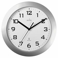 Modern Office Radio Controlled Wall Clock Home Auto Sets Split Seconds Silver
