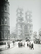 VINTAGE PHOTO ON GLASS WESTMINSTER ABBEY WEST FRONT. EARLY 20TH CENTURY.