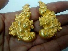 Statement  vtg. Misia designs art nouveau repoussé  gold tone clip earrings