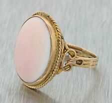 1880s Antique Victorian 14k Solid Yellow Gold Angel Skin Coral Filigree Ring