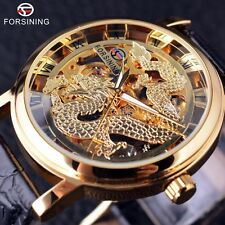 Forsining Chinese Dragon Skeleton Design Transparent Fashion New Case Gold Watch