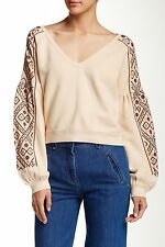 NEW Free People Senorita Embroidered V Neck Pullover Blouse Ivory XS SWEATER B2