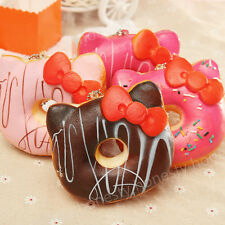 Kawaii Bow Kitten Donut Soft Squishy Bread Keychain Bag Cell Phone Charm Strap