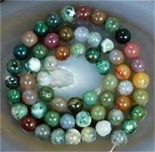 8mm Natural Colorful Indian Agate Round Beads 15''&stone