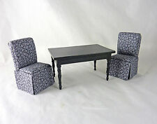 Dollhouse Miniature Black Table with 2 Slipper Chairs Set, 91704