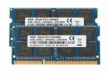 8GB 2x 4GB DDR3 PC3-8500 DDR3-1066MHz 204pin SODIMM Laptop Memory RAM CL7 PC8500
