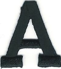 "1"" Tall Black Monogram Block Letter A Embroidery Patch"
