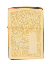 Zippo Lighter 352b Venetian High Polish Brass Initial Panel Classic NEW