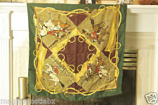 CELINE PARIS Green Equestrian Horse Style Hand Rolled 100% Silk Scarf Italy