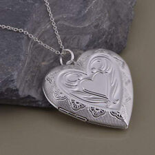 Women 925 Sterling Silver Plated Heart Lover Photo Frame Locket Pendant Necklace