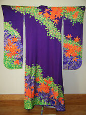 Vintage Purple Japanese Hand Painted Kakeshita Wedding Furisode Kimono
