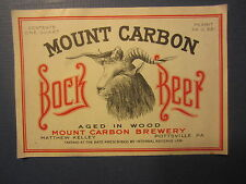 Old Vintage - MOUNT CARBON Brewery - BOCK BEER - LABEL - Pottsville PA.