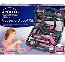 135 Pc Pink Ladies Tool Set Women Case Wrench Home Mechanics Hand Power Tool Kit