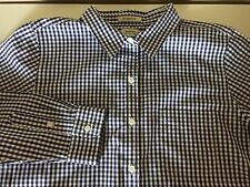 L.L. Bean Navy Blue White Gingham Check Wrinkle Free Cotton Shirt - Ladies Large