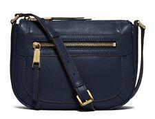 NWT Michael Kors Leather Julia Medium Messenger Crossbody Bag ~Navy