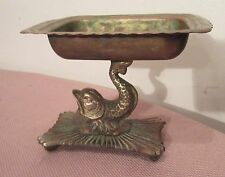 antique ornate brass bronze dolphin fish bathroom soap bar dish holder stand