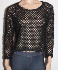 MINKPINK Designer Black Crochet Long Sleeve Pullover Jumper Size XS BNWT #SK15