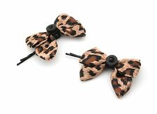 Zest 2 Pretty Leopard Print Satin Bow & Button Hair Slides Brown