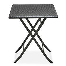 Tavolo 62x62cm in polyrattan e acciaio richiudibile pieghevole picnic casa 50004