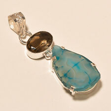 "925 SILVER PLATED NATURAL SLICE DRUZY AGATE SMOKEY TOPAZ PENDANT 2.25"" (TTE37)"