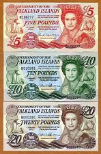 SET Falkland Islands, 5;10;20 pounds, 2005-2011 P-17-18-19, QEII, UNC