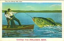 Finlayson, MN  A 1936 Big Fish Greetings from Finlayson