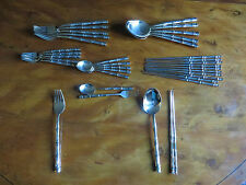 SOLID BRONZE CUTLERY - BAMBOO DESIGN - 30 PIECES 6 PLACE ORIENTAL STYLE SETTING