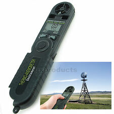 Digital LCD Pocket Anemometer Thermometer °F/°C Wind Speed Air Velocity Gauge