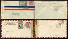 JAMAICA to CHILE 1940 + 1945 CENSORS + AIRMAILS...2 TYPES of ENVELOPE