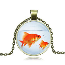 NEW Vintage goldfish Cabochon Photo Bronze Glass Chain Pendant Necklace #268