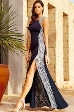 Lace Side Gown Maxi Party Dress With Fish Tail Detail Navy Small