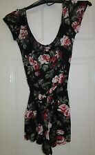 LADIES BLACK FLORAL TOPSHOP PLAYSUIT size 6