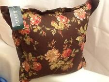 """Ralph Lauren Brown Rose Floral Throw 20"""" Feather Pillow + Removable Cover *NWT"""