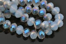 95 pcs  RONDELLE FACETED GLASS CRYSTAL BEADS 6mm  Opal Blue