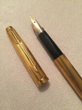 1986 PARKER 75 MILLERAIES GOLD PLATED GT FINE 14K NIB FOUNTAIN PEN-FRANCE-SUPERB