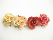 Handmade Set of (4) Men's Lapel Pin Rose Flowers - Red & Pink Collection
