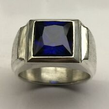MJG STERLING SILVER MEN'S RING.10 X 10MM  SQUARE FACETED  LAB BLUE SPINEL . SZ10