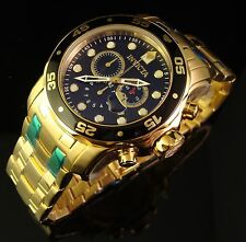 NEW MENS INVICTA RARE 18K GOLD PLATED& BLACK SWISS CHRONO MASTER OF THE OCEANS -