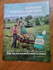 1963 Salem Cigarette Ad  Couple Vintage Farm Metal Equipment