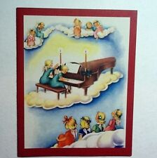 Vintage Unused Fravessi Xmas Greeting Card Angel's On Clouds Playing Piano